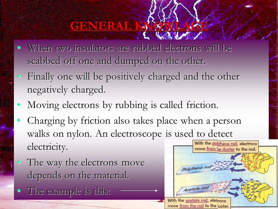 GENERAL KNOWLAGE When two insulators are rubbed electrons will be scabbed off one and dumped on the other.When two insulators are rubbed electrons will be scabbed off one and dumped on the other.