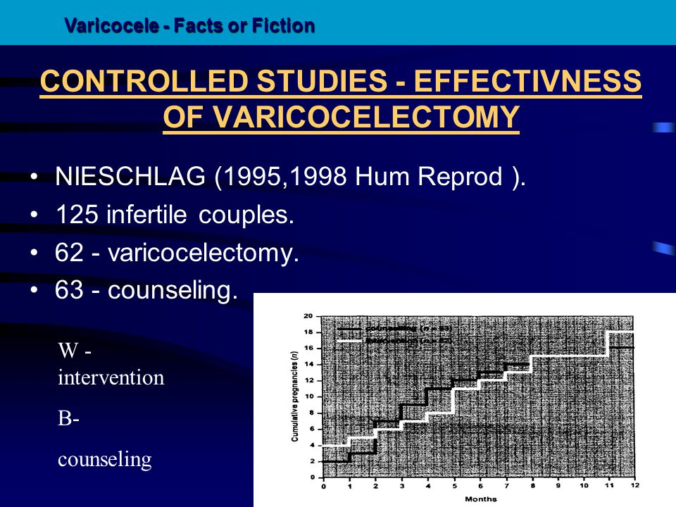 CONTROLLED STUDIES - EFFECTIVNESS OF VARICOCELECTOMY NIESCHLAG (1995,1998 Hum Reprod ). 125 infertile couples. 62 - varicocelectomy. 63 - counseling.