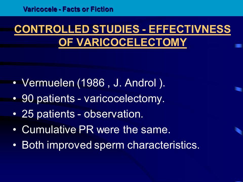 CONTROLLED STUDIES - EFFECTIVNESS OF VARICOCELECTOMY Vermuelen (1986, J. Androl ). 90 patients - varicocelectomy. 25 patients - observation. Cumulativ
