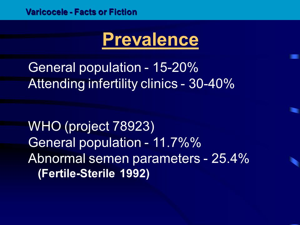Prevalence General population - 15-20% Attending infertility clinics - 30-40% WHO (project 78923) General population - 11.7% Abnormal semen parameters
