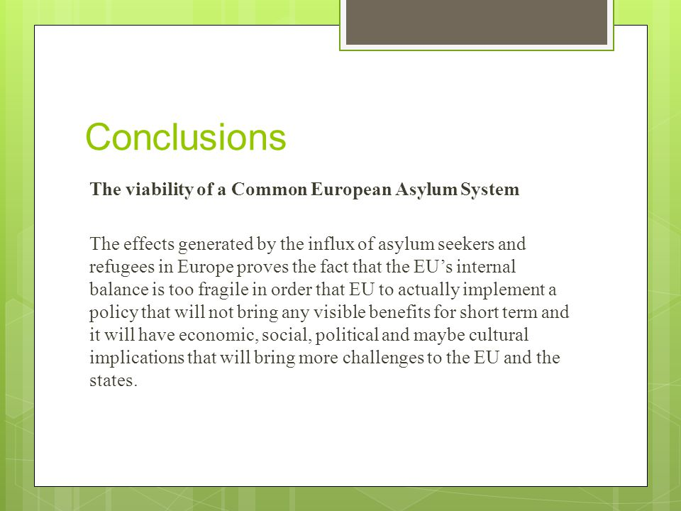 Conclusions The viability of a Common European Asylum System The effects generated by the influx of asylum seekers and refugees in Europe proves the fact that the EU's internal balance is too fragile in order that EU to actually implement a policy that will not bring any visible benefits for short term and it will have economic, social, political and maybe cultural implications that will bring more challenges to the EU and the states.