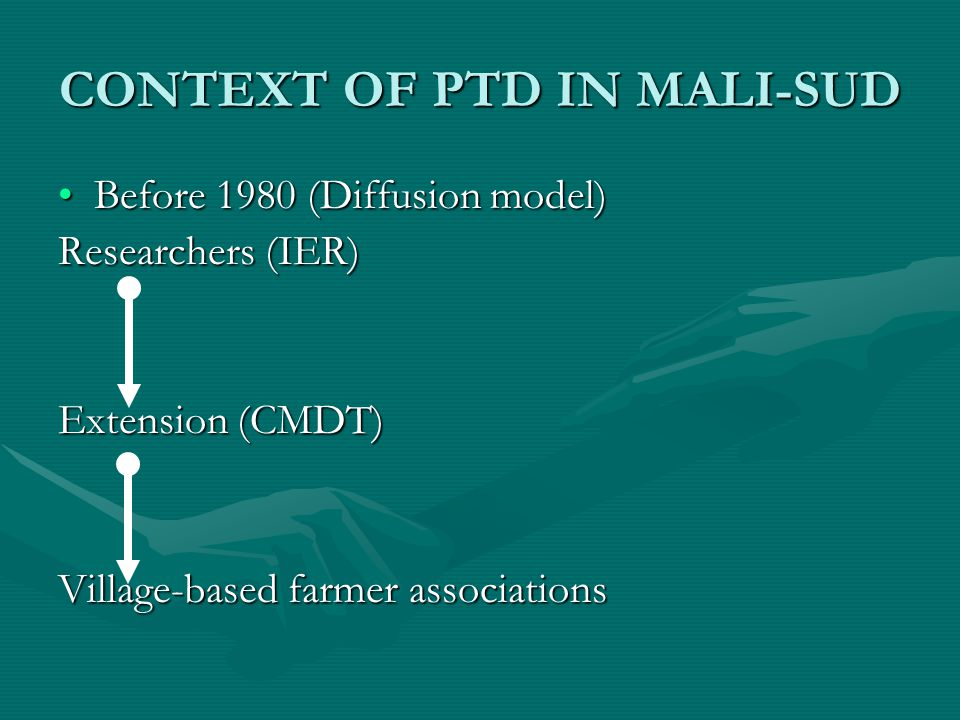 CONTEXT OF PTD IN MALI-SUD Before 1980 (Diffusion model)Before 1980 (Diffusion model) Researchers (IER) Extension (CMDT) Village-based farmer associations
