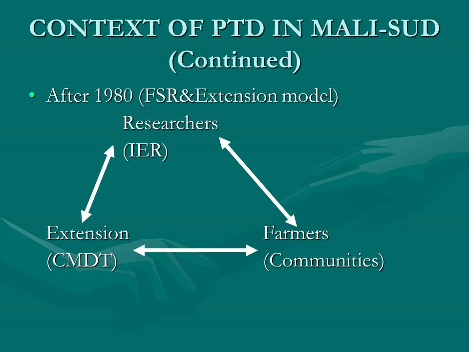 CONTEXT OF PTD IN MALI-SUD (Continued) After 1980 (FSR&Extension model)After 1980 (FSR&Extension model)Researchers(IER) Extension Farmers (CMDT)(Communities)
