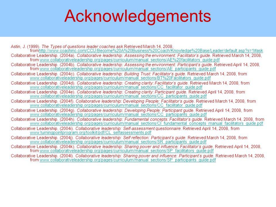 Acknowledgements Astin, J. (1999).
