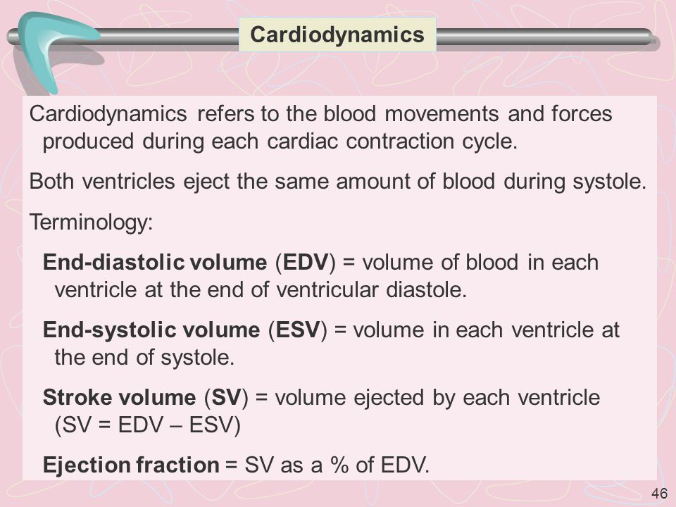 46 Cardiodynamics Cardiodynamics refers to the blood movements and forces produced during each cardiac contraction cycle.