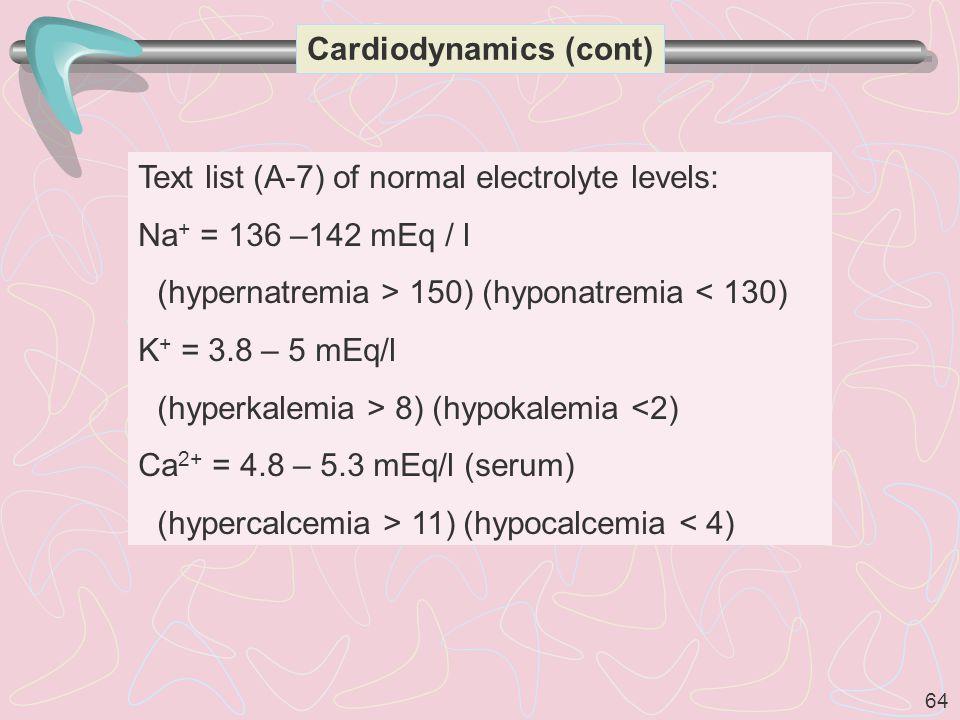 64 Text list (A-7) of normal electrolyte levels: Na + = 136 –142 mEq / l (hypernatremia > 150) (hyponatremia < 130) K + = 3.8 – 5 mEq/l (hyperkalemia