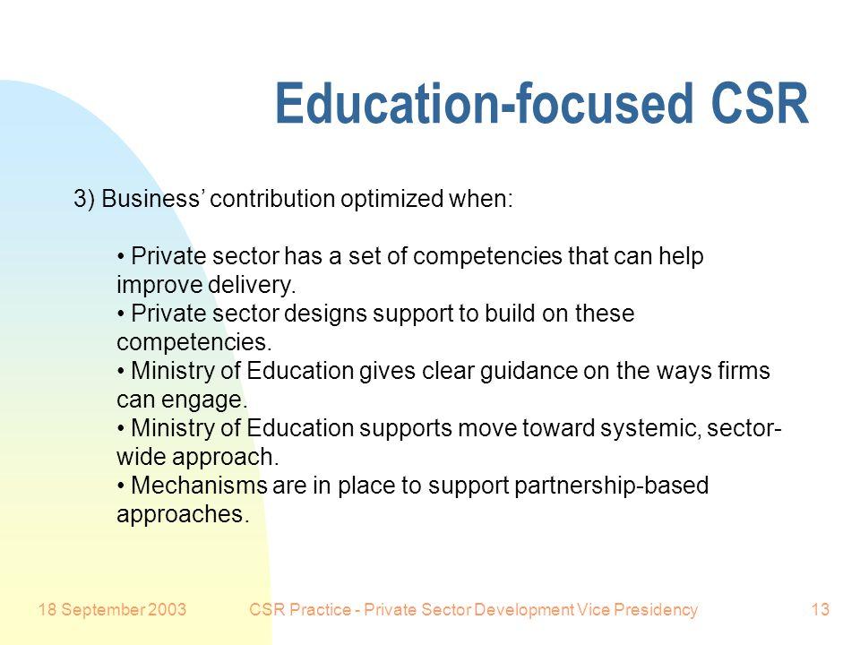 18 September 2003CSR Practice - Private Sector Development Vice Presidency13 Education-focused CSR Preferred Customer: 3) Business' contribution optim