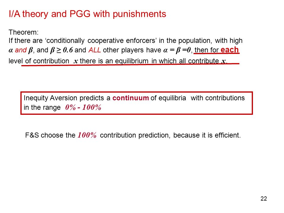 21 I/A theory and PGG with punishments Theorem: If there are 'conditionally cooperative enforcers' in the population, with high α and β, and β ≥ 0.6 and ALL other players have α = β =0, then for each level of contribution x there is an equilibrium in which all contribute x.