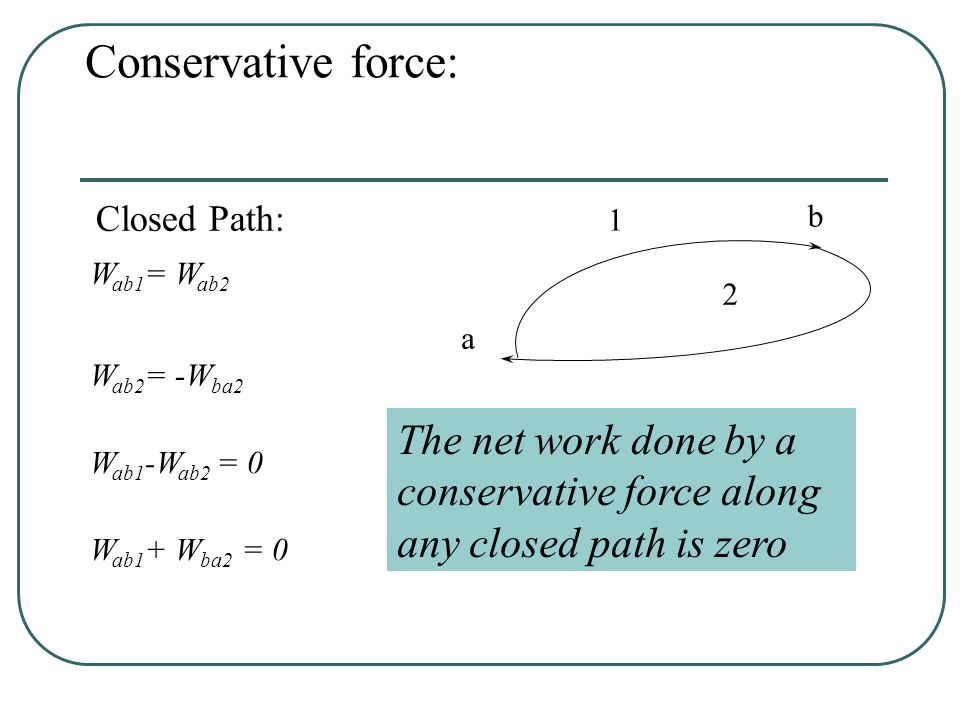 Conservative forces a b 1 2 A force F acts on an object The object moves along two different paths If W ab1 = W ab2, Then F is conservative