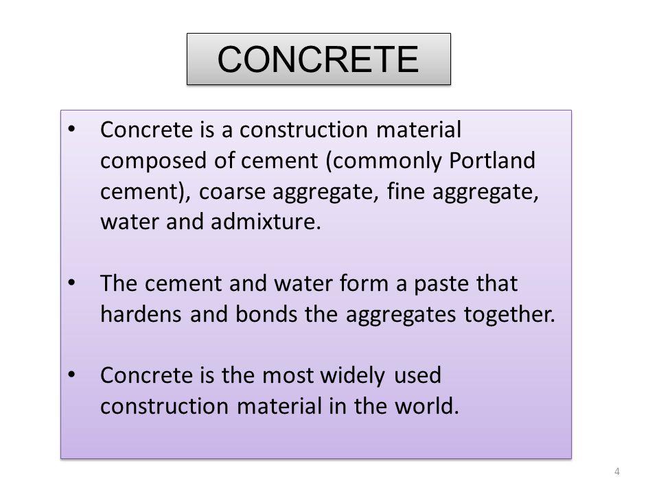 Concrete has strength, durability, versatility, and economy.