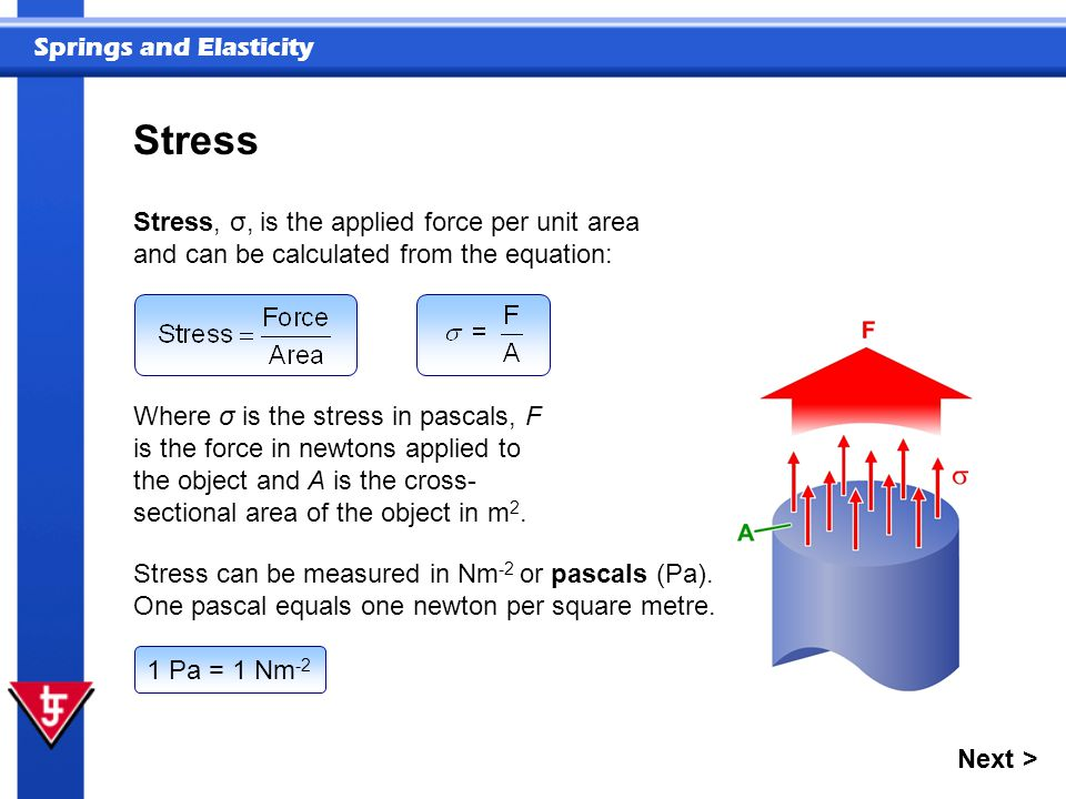 Springs and Elasticity Stress Stress, σ,  is the applied force per unit area and can be calculated from the equation: Where σ is the stress in pascals, F is the force in newtons applied to the object and A is the cross- sectional area of the object in m 2.