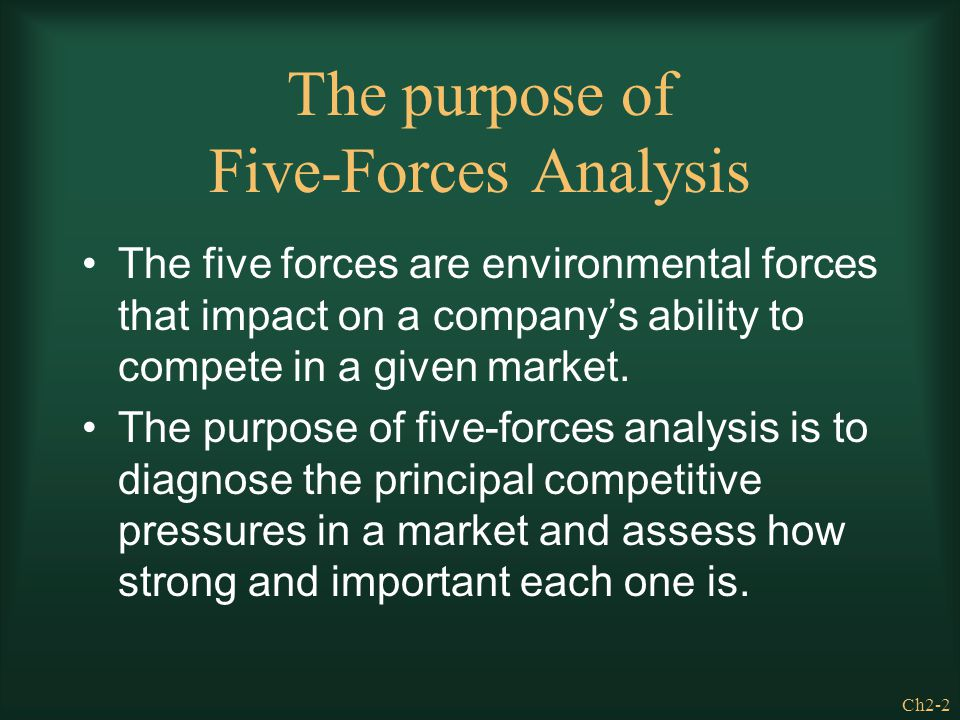 Ch2-2 The purpose of Five-Forces Analysis The five forces are environmental forces that impact on a company's ability to compete in a given market. Th