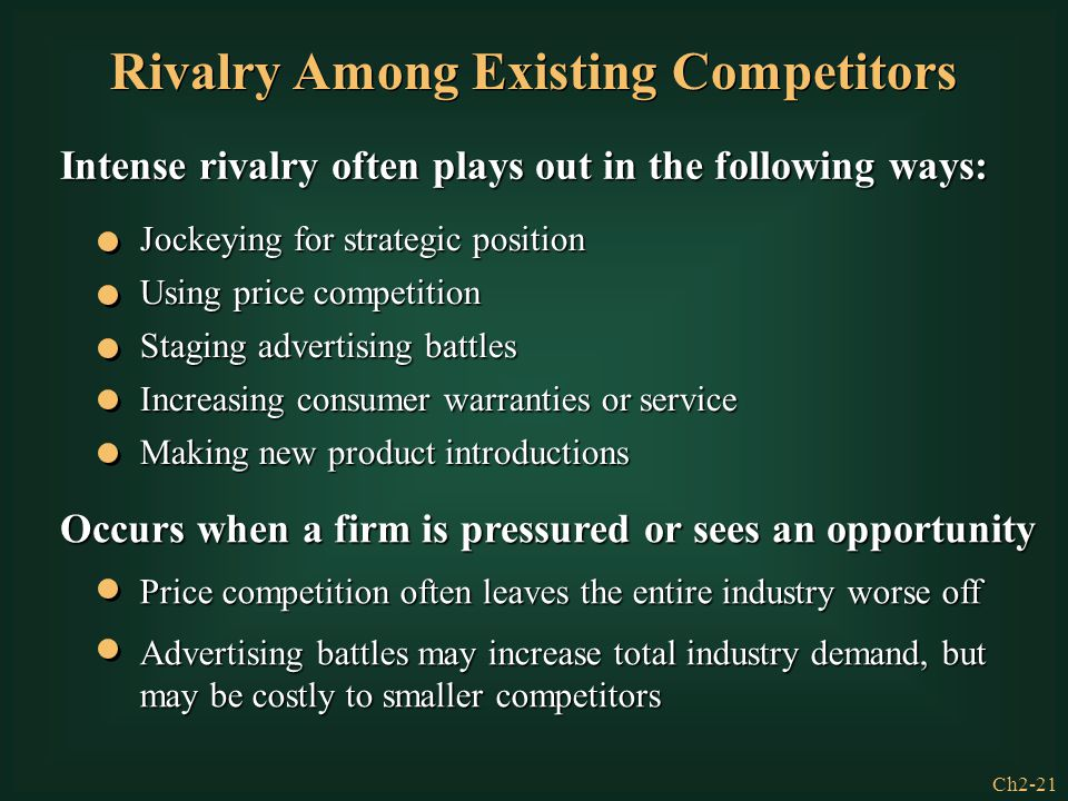 Ch2-21 Rivalry Among Existing Competitors Intense rivalry often plays out in the following ways: Jockeying for strategic position Using price competit
