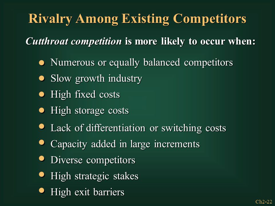 Ch2-22 Cutthroat competition is more likely to occur when: Rivalry Among Existing Competitors Numerous or equally balanced competitors Slow growth ind