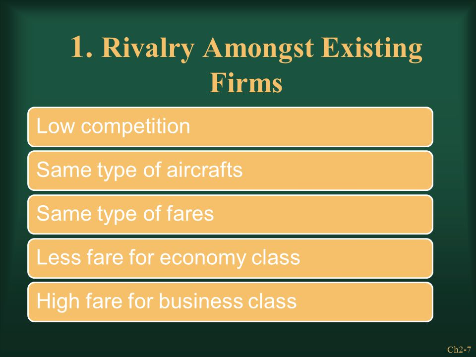Ch2-7 1. Rivalry Amongst Existing Firms Low competitionSame type of aircraftsSame type of faresLess fare for economy classHigh fare for business class