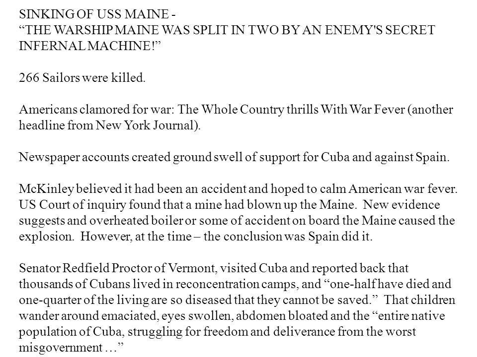"""SINKING OF USS MAINE - """"THE WARSHIP MAINE WAS SPLIT IN TWO BY AN ENEMY'S SECRET INFERNAL MACHINE!"""" 266 Sailors were killed. Americans clamored for war"""