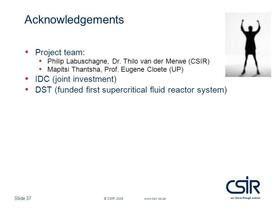 Slide 37 © CSIR 2006 www.csir.co.za Acknowledgements Project team: Philip Labuschagne, Dr.