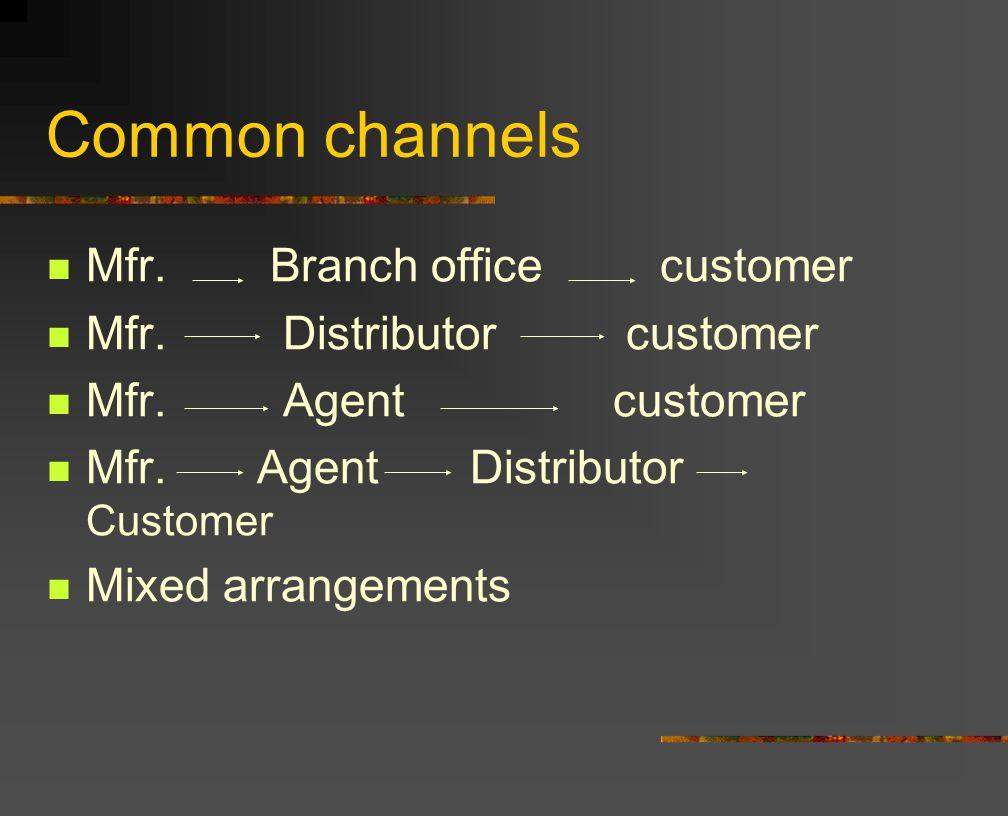 Common channels Mfr. Branch office customer Mfr. Distributor customer Mfr.