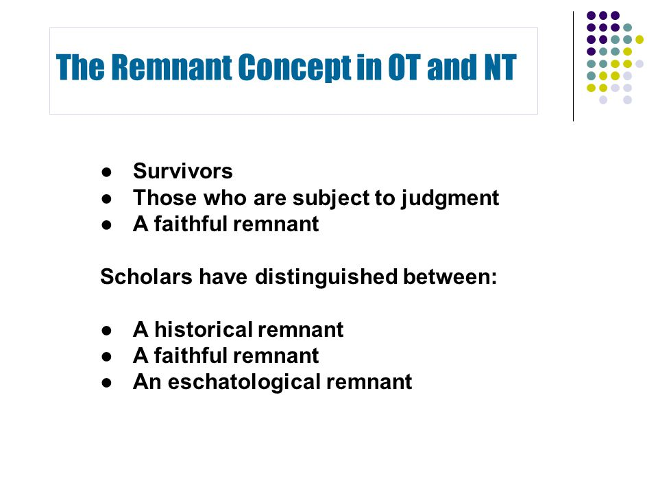 ●Survivors ●Those who are subject to judgment ● A faithful remnant Scholars have distinguished between: ●A historical remnant ● A faithful remnant ● A
