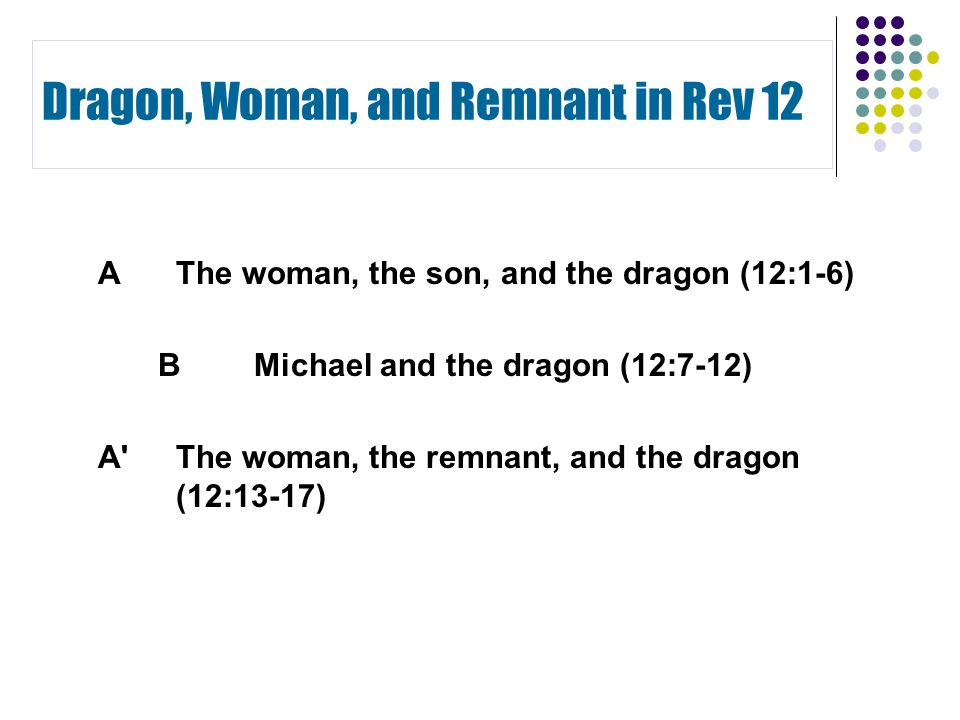 Dragon, Woman, and Remnant in Rev 12 AThe woman, the son, and the dragon (12:1-6) BMichael and the dragon (12:7-12) A The woman, the remnant, and the dragon (12:13-17)