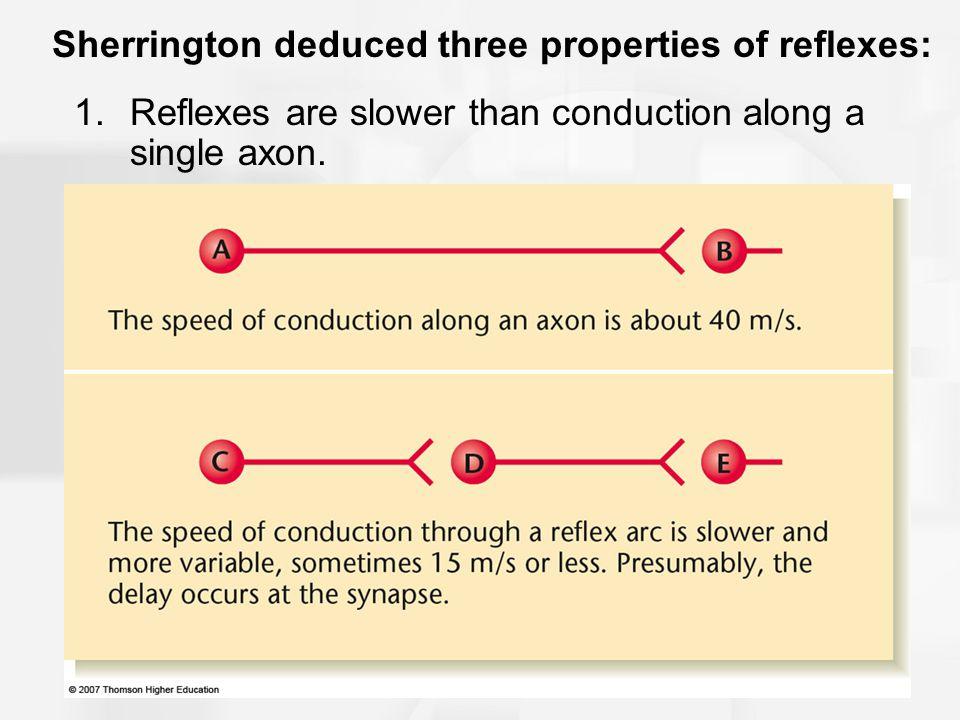Sherrington deduced three properties of reflexes: 2.