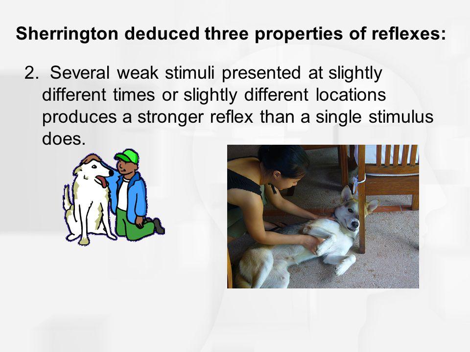 Sherrington deduced three properties of reflexes: 3.