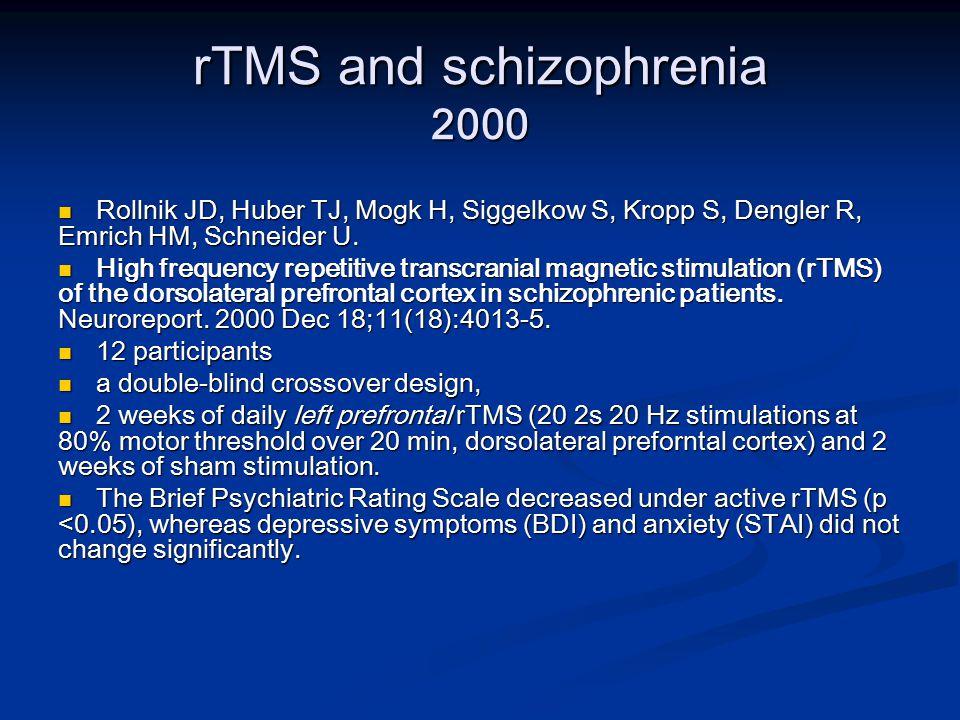 rTMS and schizophrenia 2000 Rollnik JD, Huber TJ, Mogk H, Siggelkow S, Kropp S, Dengler R, Emrich HM, Schneider U.