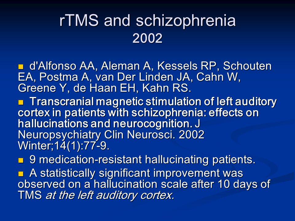 rTMS and schizophrenia 2002 d Alfonso AA, Aleman A, Kessels RP, Schouten EA, Postma A, van Der Linden JA, Cahn W, Greene Y, de Haan EH, Kahn RS.