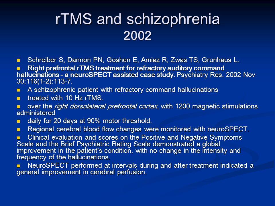 rTMS and schizophrenia 2002 Schreiber S, Dannon PN, Goshen E, Amiaz R, Zwas TS, Grunhaus L.
