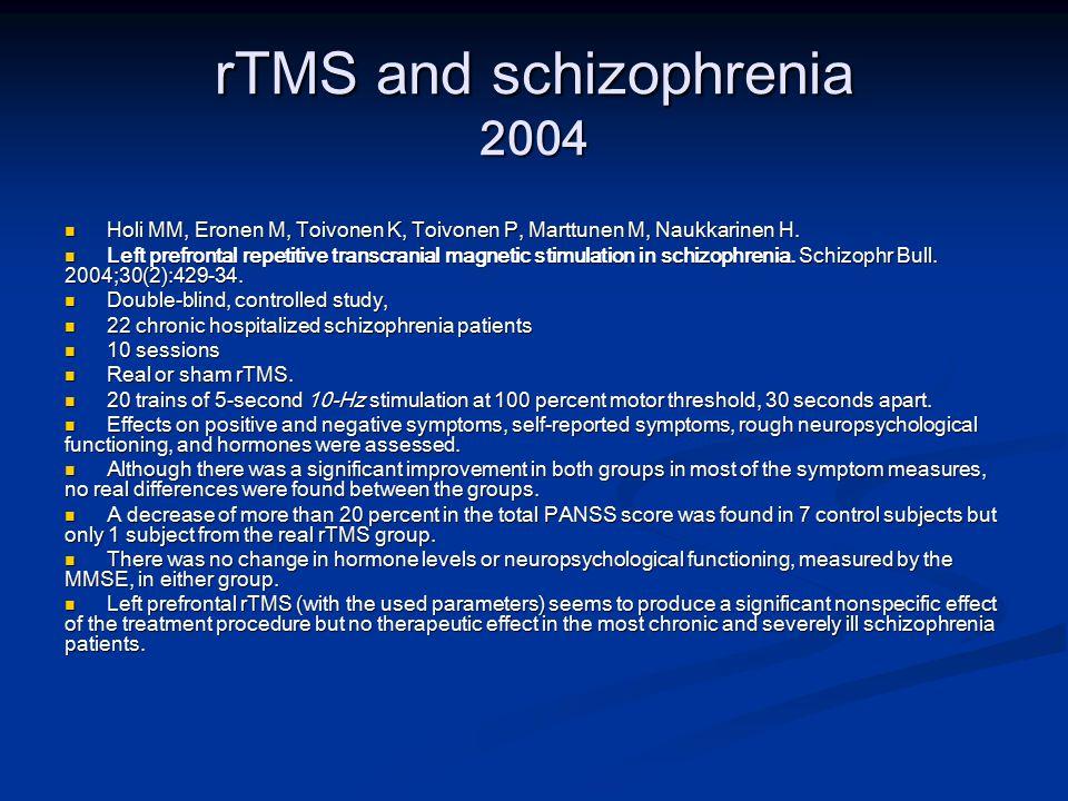 rTMS and schizophrenia 2004 Holi MM, Eronen M, Toivonen K, Toivonen P, Marttunen M, Naukkarinen H.