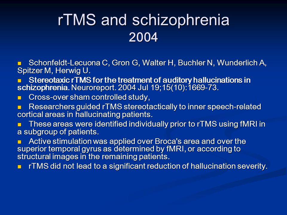 rTMS and schizophrenia 2004 Schonfeldt-Lecuona C, Gron G, Walter H, Buchler N, Wunderlich A, Spitzer M, Herwig U.