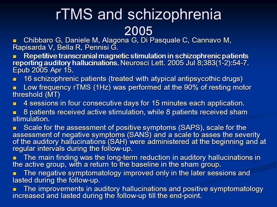 rTMS and schizophrenia 2005 Chibbaro G, Daniele M, Alagona G, Di Pasquale C, Cannavo M, Rapisarda V, Bella R, Pennisi G.