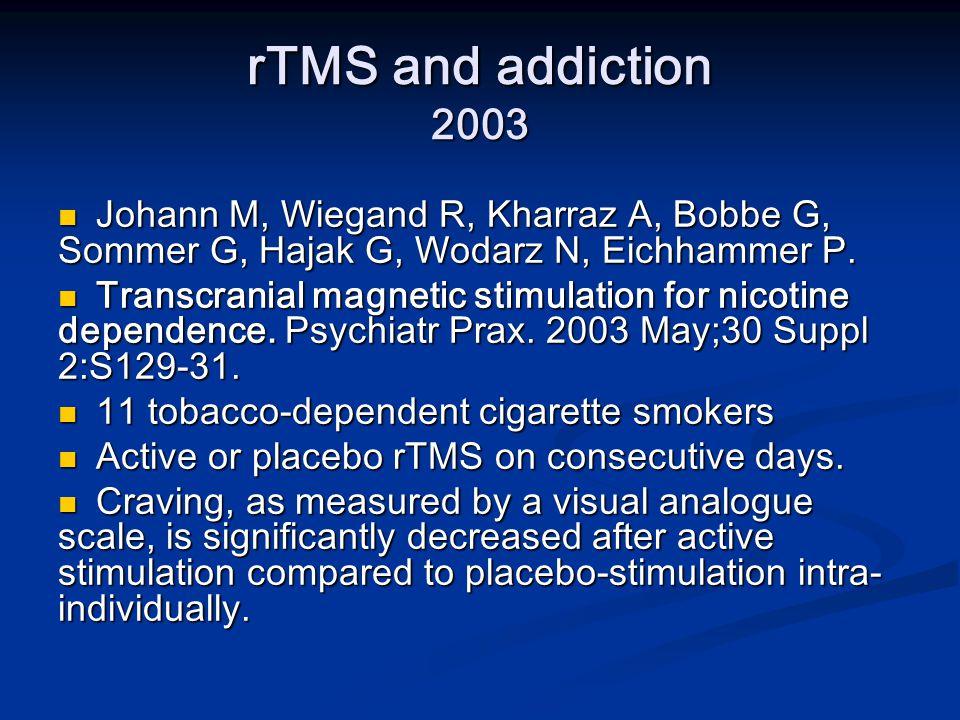 rTMS and addiction 2003 Johann M, Wiegand R, Kharraz A, Bobbe G, Sommer G, Hajak G, Wodarz N, Eichhammer P.