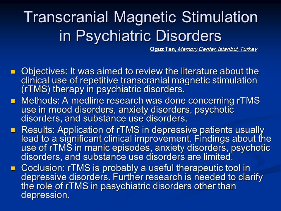 SHAM-CONTROLLED STUDIES 2004 Holtzheimer PE, 3rd, Russo J, Claypoole KH, Roy-Byrne P, Avery DH Holtzheimer PE, 3rd, Russo J, Claypoole KH, Roy-Byrne P, Avery DH Shorter duration of depressive episode may predict response to repetitive transcranial magnetic stimulation.