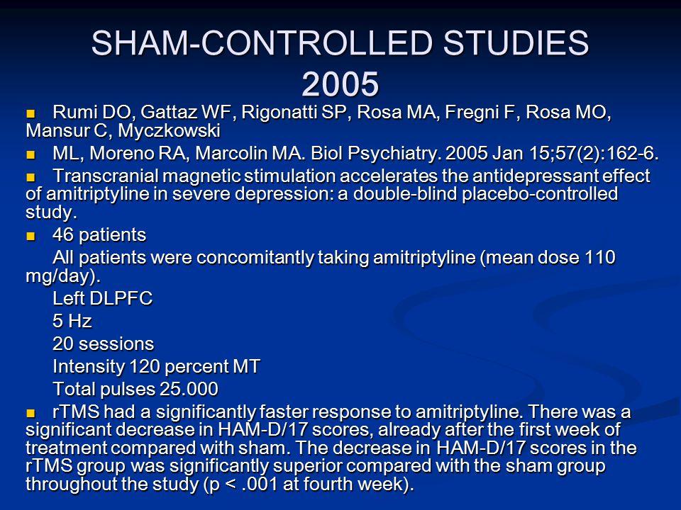 SHAM-CONTROLLED STUDIES 2005 Rumi DO, Gattaz WF, Rigonatti SP, Rosa MA, Fregni F, Rosa MO, Mansur C, Myczkowski Rumi DO, Gattaz WF, Rigonatti SP, Rosa MA, Fregni F, Rosa MO, Mansur C, Myczkowski ML, Moreno RA, Marcolin MA.