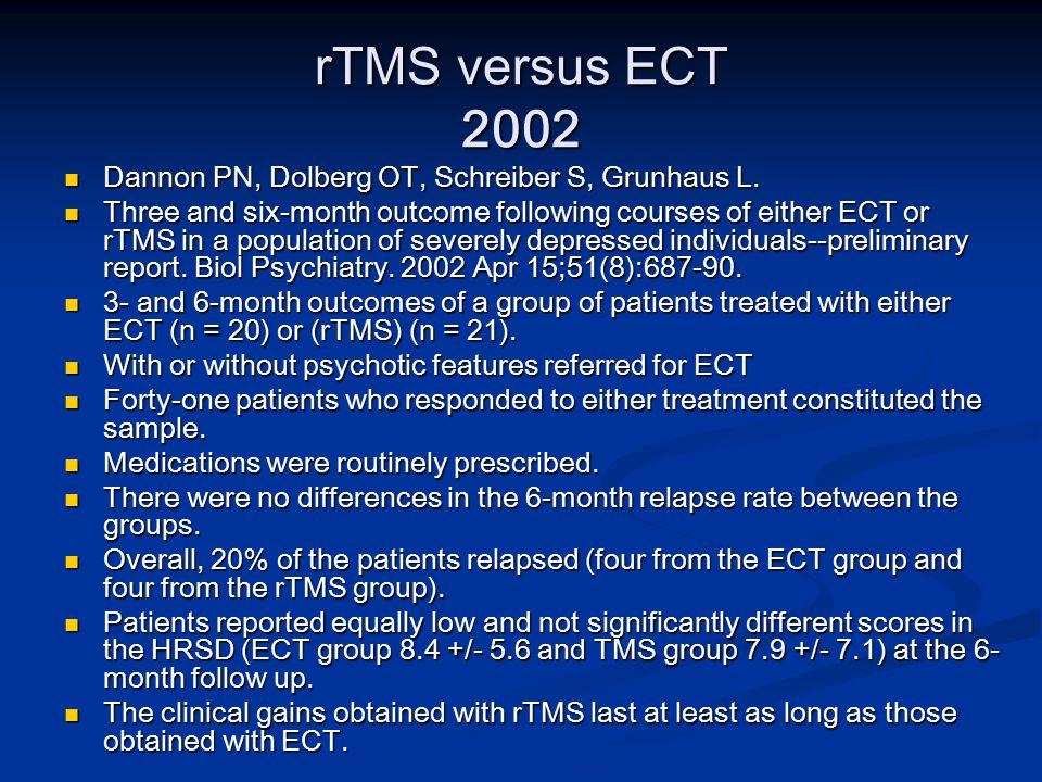 rTMS versus ECT 2002 Dannon PN, Dolberg OT, Schreiber S, Grunhaus L.