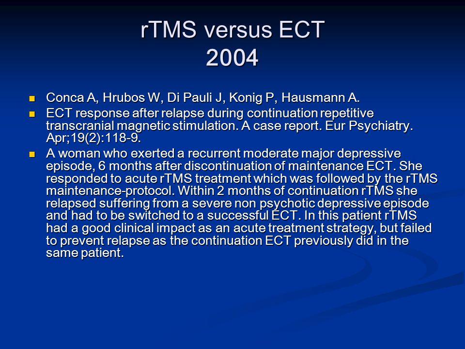 rTMS versus ECT 2004 Conca A, Hrubos W, Di Pauli J, Konig P, Hausmann A.