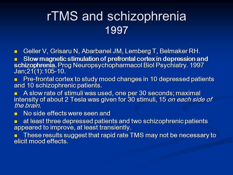 rTMS and schizophrenia 1997 Geller V, Grisaru N, Abarbanel JM, Lemberg T, Belmaker RH.