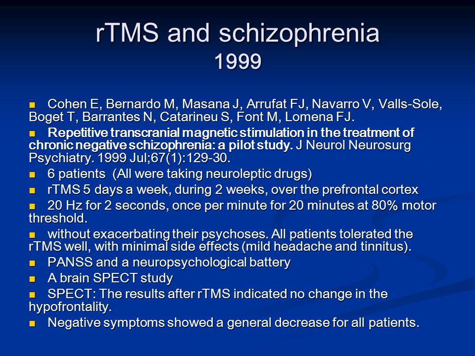 rTMS and schizophrenia 1999 Cohen E, Bernardo M, Masana J, Arrufat FJ, Navarro V, Valls-Sole, Boget T, Barrantes N, Catarineu S, Font M, Lomena FJ.