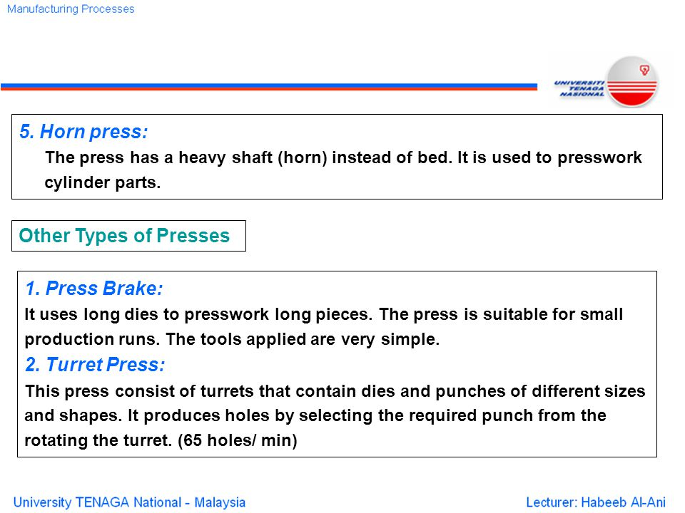 5.Horn press: The press has a heavy shaft (horn) instead of bed.
