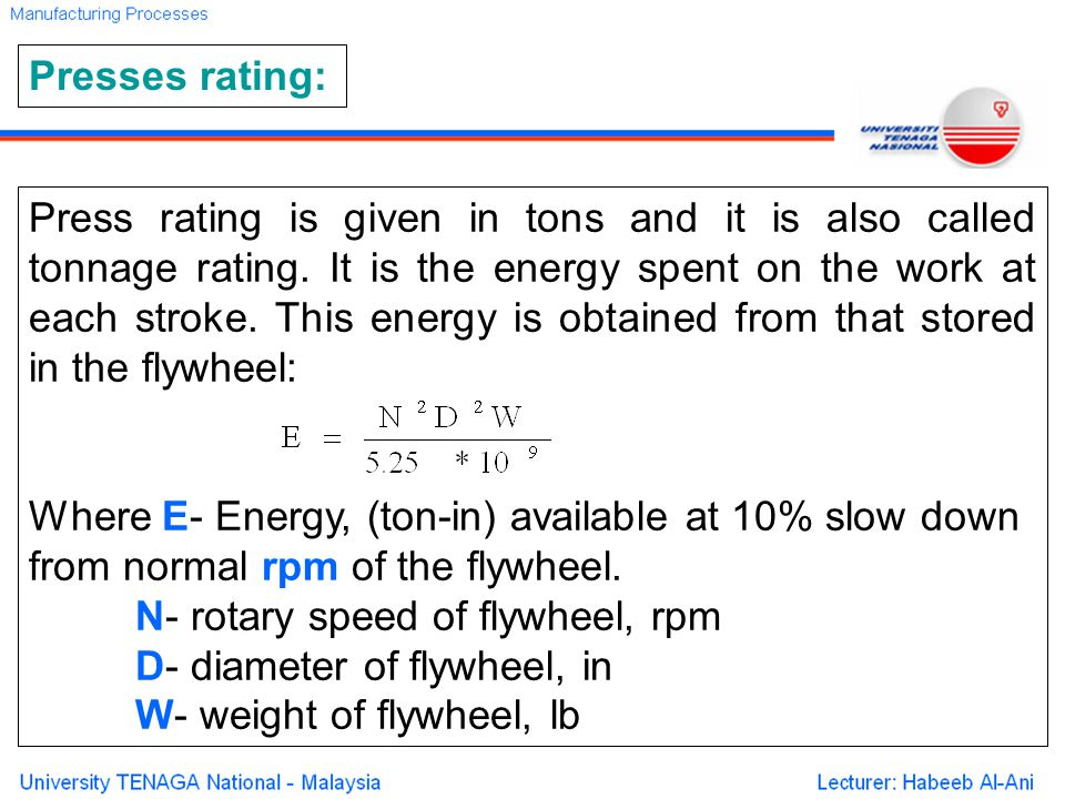 Press rating is given in tons and it is also called tonnage rating.