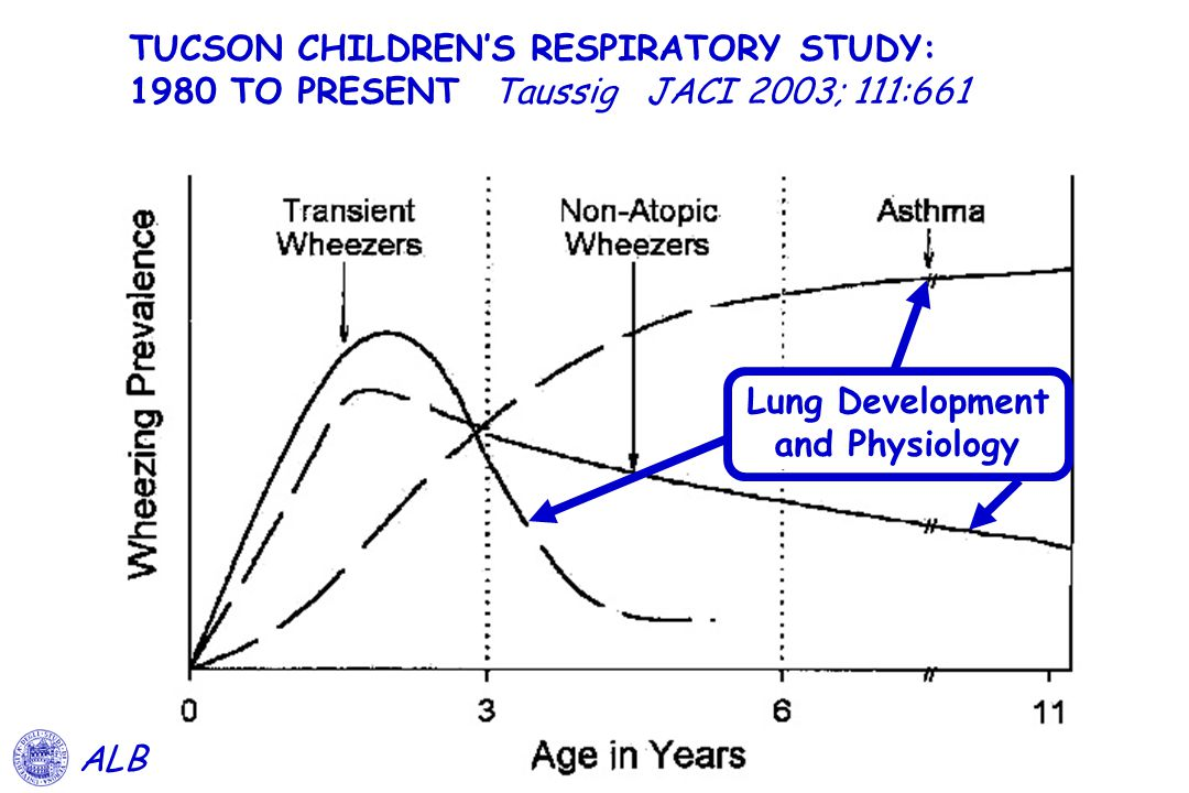 TUCSON CHILDREN'S RESPIRATORY STUDY: 1980 TO PRESENT Taussig JACI 2003; 111:661 ALB Lung Development and Physiology