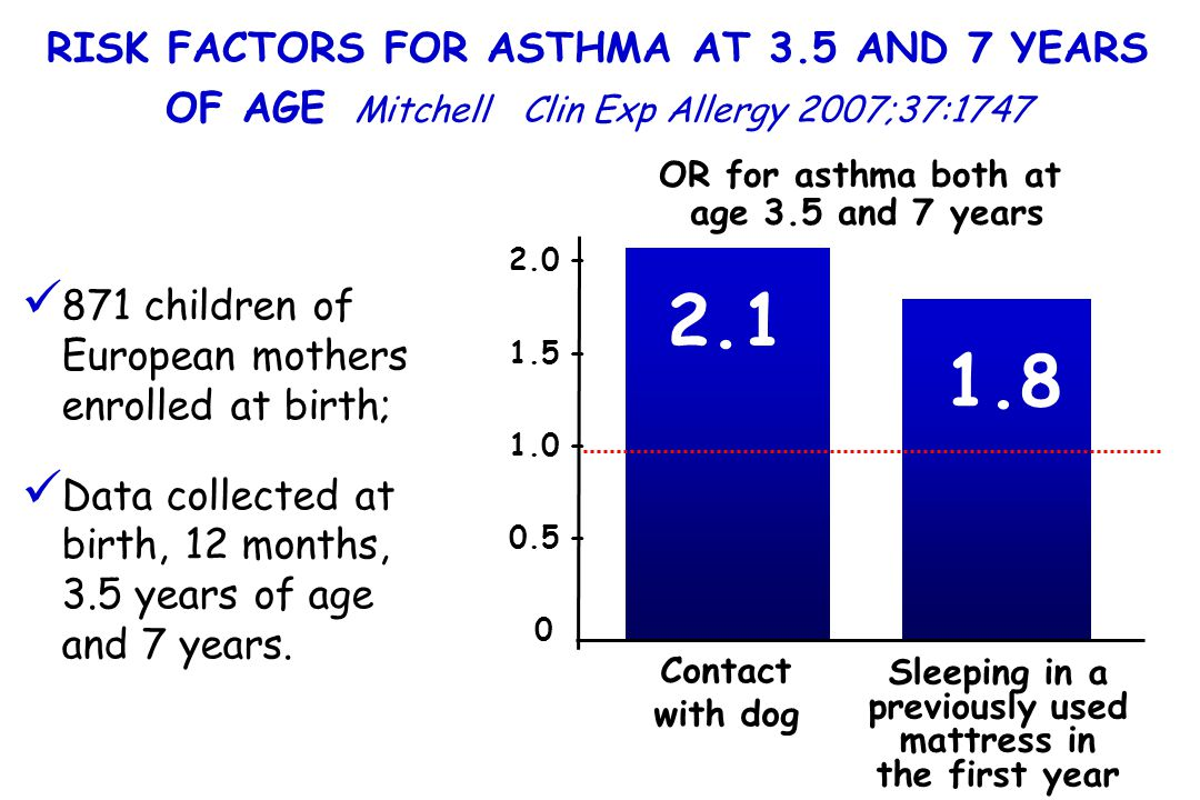 2.0 – 1.5 – 1.0 – 0.5 – 0 2.1 1.8 Contact with dog Sleeping in a previously used mattress in the first year RISK FACTORS FOR ASTHMA AT 3.5 AND 7 YEARS