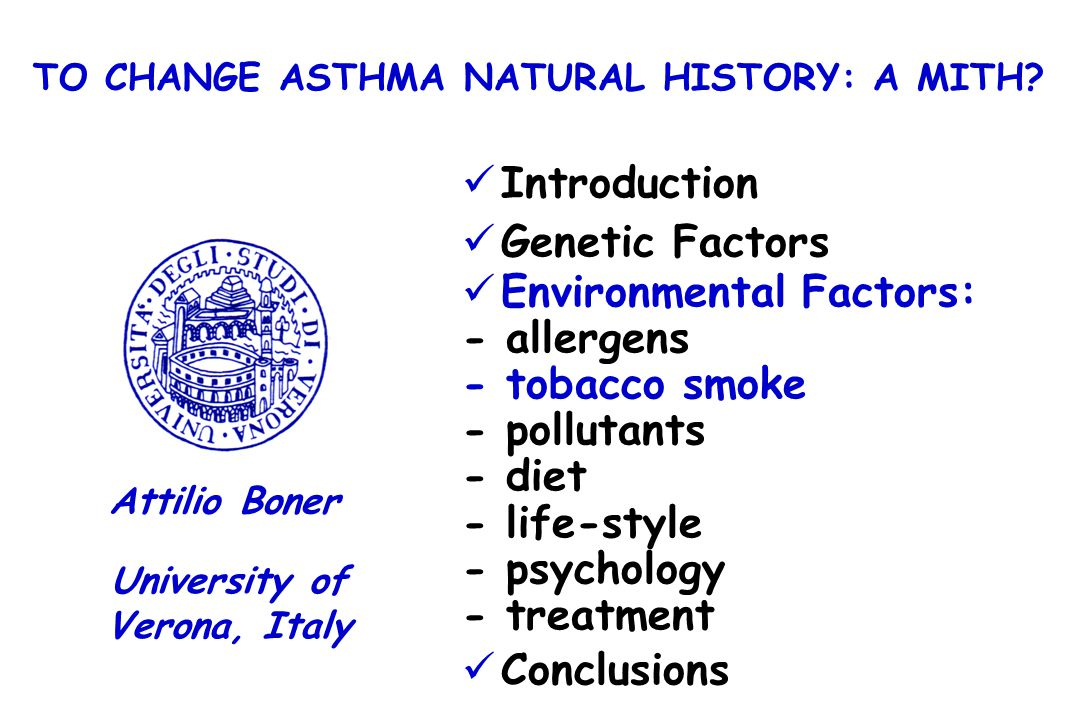 Introduction Genetic Factors Environmental Factors: - allergens - tobacco smoke - pollutants - diet - life-style - psychology - treatment Conclusions