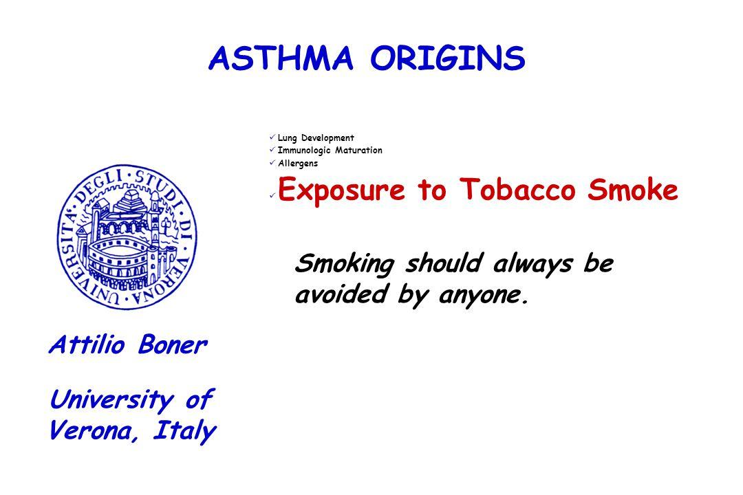 ASTHMA ORIGINS Lung Development Immunologic Maturation Allergens Exposure to Tobacco Smoke University of Verona, Italy Attilio Boner Smoking should al