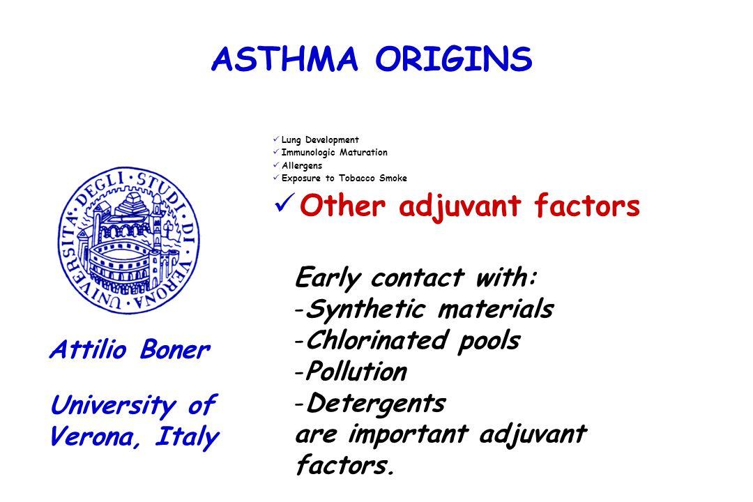 ASTHMA ORIGINS Lung Development Immunologic Maturation Allergens Exposure to Tobacco Smoke Other adjuvant factors University of Verona, Italy Attilio