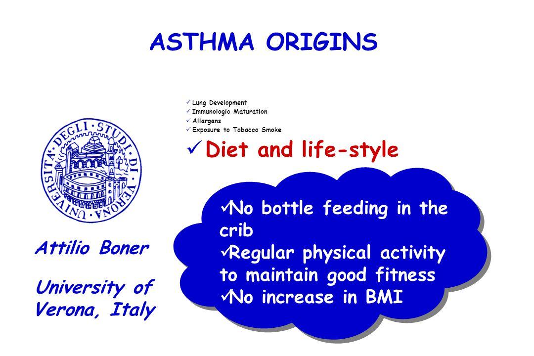 ASTHMA ORIGINS Lung Development Immunologic Maturation Allergens Exposure to Tobacco Smoke Diet and life-style University of Verona, Italy Attilio Bon