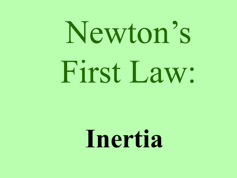 Newton's Laws Inertia Fnet=MA F=-F <>