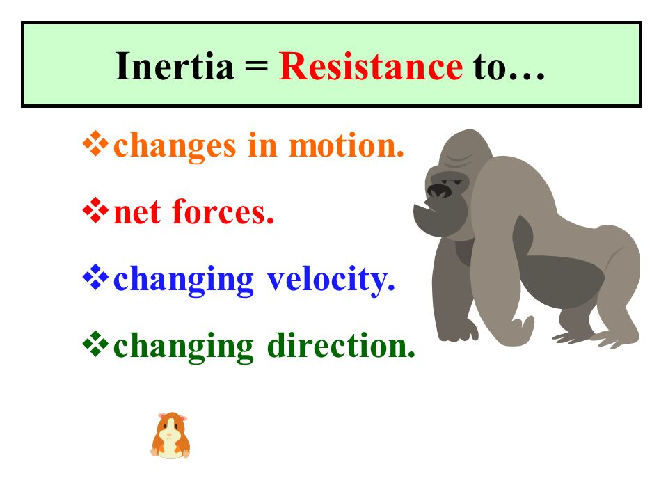 Inertia = Mass Bigger masses have more… Smaller masses have less inertia.