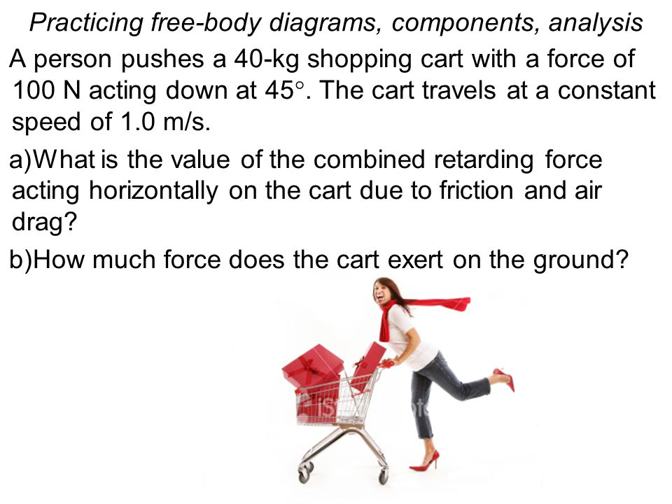 Practicing free-body diagrams, components, analysis A person pushes a 40-kg shopping cart with a force of 100 N acting down at 45 . The cart travels
